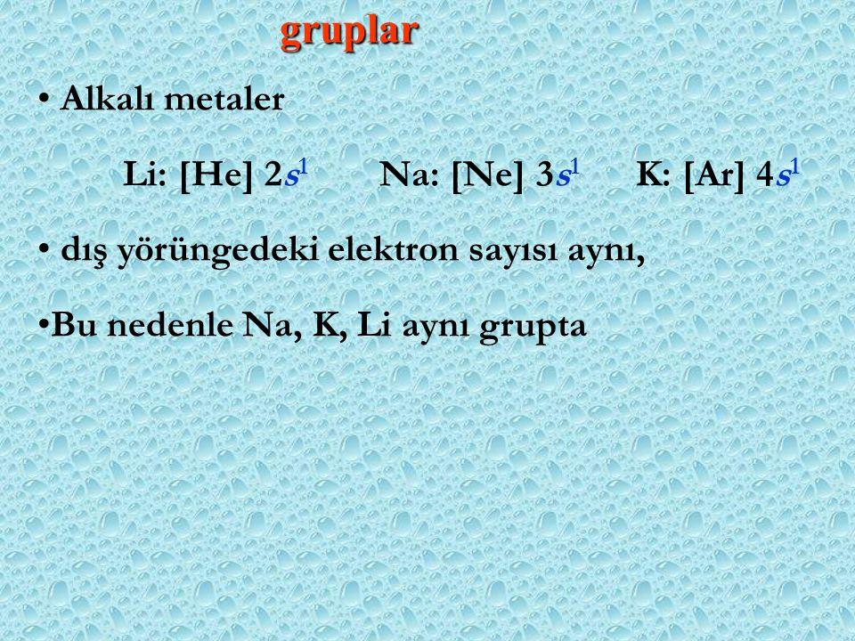 gruplar Alkalı metaler Li: [He] 2s1 Na: [Ne] 3s1 K: [Ar] 4s1